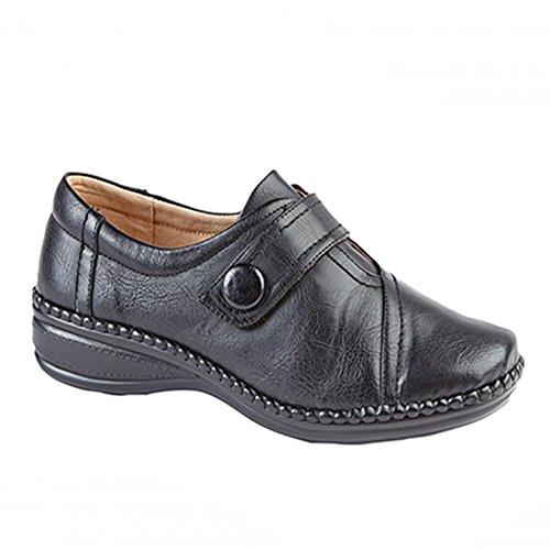 Ruban Noires Pour agrippant Pieds Décontracté Avec Style Chaussures Auto Extra Femmes Larges 7xZBOgwInq
