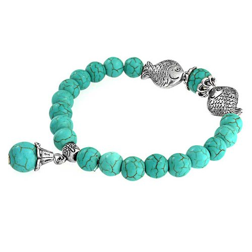 Bracelet Silver Plated Stretch Beaded (Turquoise Buddha Stretch Bracelet Silver Plated)