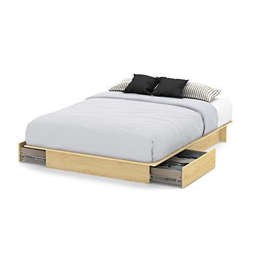 South Shore Step One Platform Bed with 2 Drawers, Full/Queen 60-Inch, Natural ()