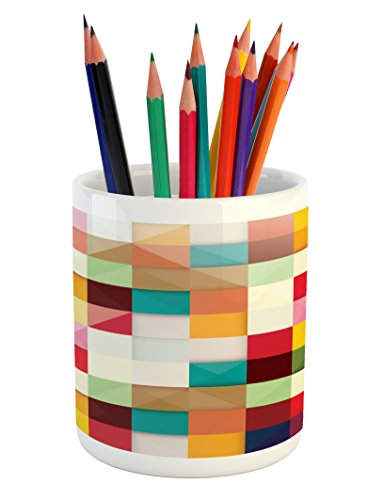 Cheap  Abstract Pencil Pen Holder by Lunarable, Artistic Modern Style Cube Inspired Colorful..