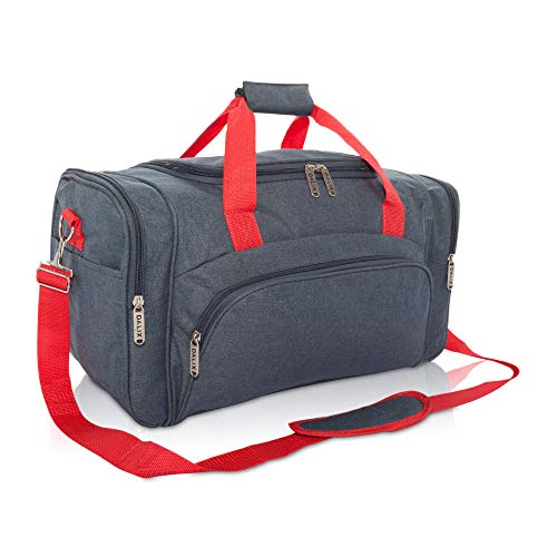 DALIX Signature Travel or Gym Duffle Bag in Navy Blue with Red Straps ()