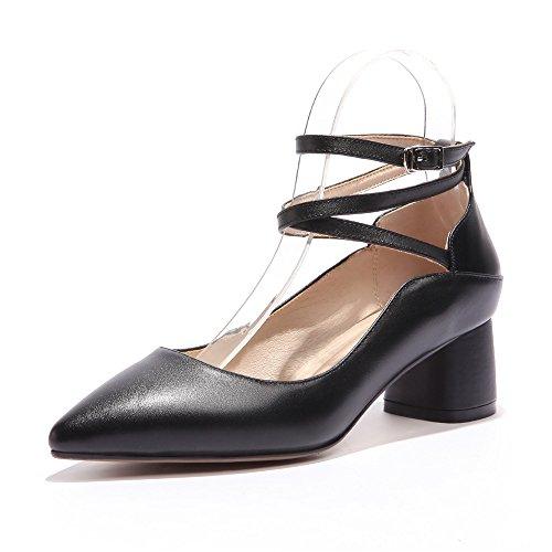 Nove Sette Donne In Vera Pelle Punta A Punta Tacco Grosso Cinturino Alla Caviglia Elegante Scarpe Eleganti Scarpe Nero Nuovo