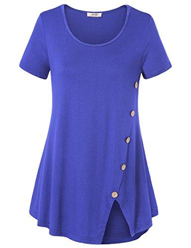Sleeve Crewneck Line Short Tee (Vivilli Women Tunic Tops, Short Sleeve Crew Neck Curved Hem Split Side A Line Loose Blouse T Shirts Blue X-Large)