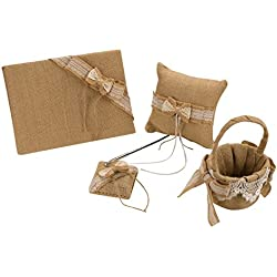 vLoveLife Khaki Rustic Wedding Flower Girl Basket + Guest Book + Pen Set + Ring Pillow Burlap Hessian Set With Lace Petals Ribbon Bow Decor - Set 1