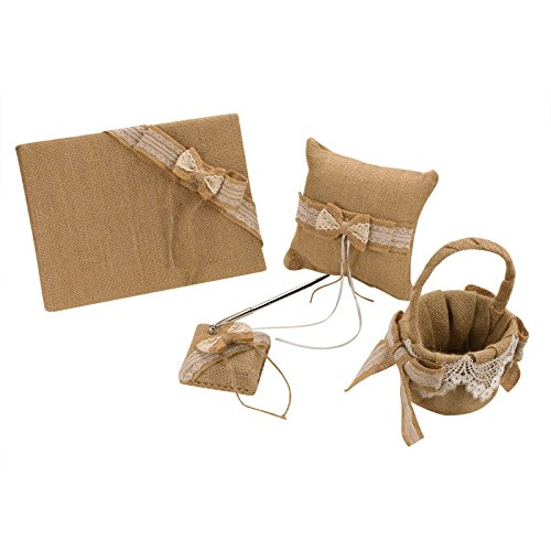 vLoveLife Khaki Rustic Wedding Flower Girl Basket + Guest Book + Pen Set + Ring Pillow Burlap Hessian Set With Lace Petals Ribbon Bow Decor – Set 1