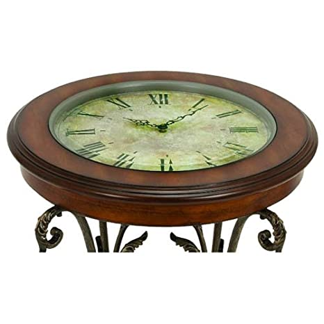 Amazon.com: Casa Cortes Designer Round Clock Coffee U0026 End Table: Kitchen U0026  Dining
