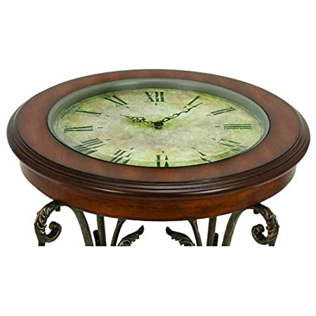 Amazon Com Casa Cortes Designer Round Clock Coffee End Table Kitchen Dining