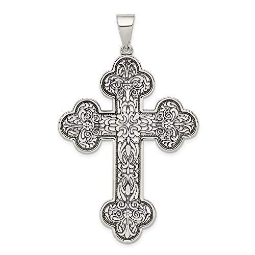 925 Sterling Silver Large Filigree Cross Religious Pendant Charm Necklace Fine Jewelry Gifts For Women For ()