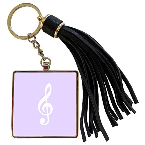 3dRose InspirationzStore Music Art Designs - Lilac Purple Treble Clef Music Notation G clef musical note musician - Tassel Key Chain (tkc_232116_1) (Oasis A Great Big World Piano Sheet Music)