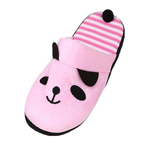 LANDFOX Zapatillas de dibujos animados Panda Home Floor Soft Stripe Mujer rosado
