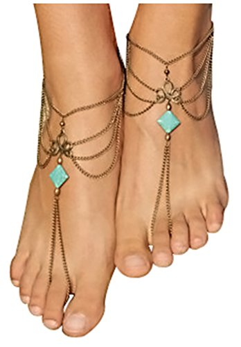 Barefoot Sandals Jewelry Turquoise Anklet product image