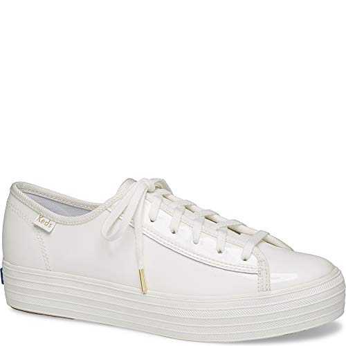 Keds Women's Triple Kick Canvas Fashion Sneaker,White,9 M US