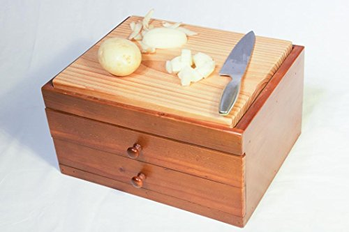 Wooden Cutting Board with 2 Drawers – Countertop