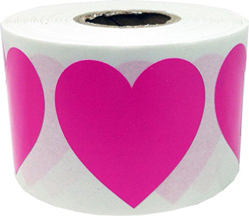 (Hot Pink Heart Stickers For Valentine's Day Crafting Scrapbooking 1 1/2 Inch 500 Adhesive Stickers)