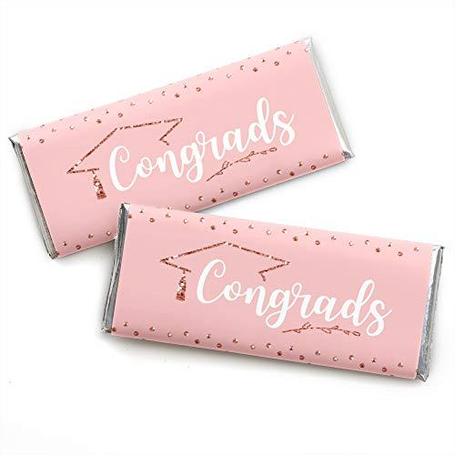 (Rose Gold Grad - Candy Bar Wrapper Graduation Party Favors - Set of 24)