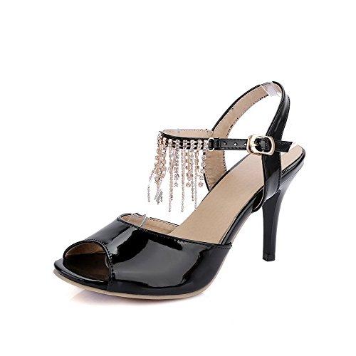 Amoonyfashion Kvinners Titte Toe Høye Hæler Patent Lær Fast Spenne Hæl-sandaler Sorte