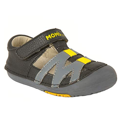 Momo Black Leather - Momo Baby Boys First Walker Toddler Mason Leather Sandals Shoes - 7 Black/Grey