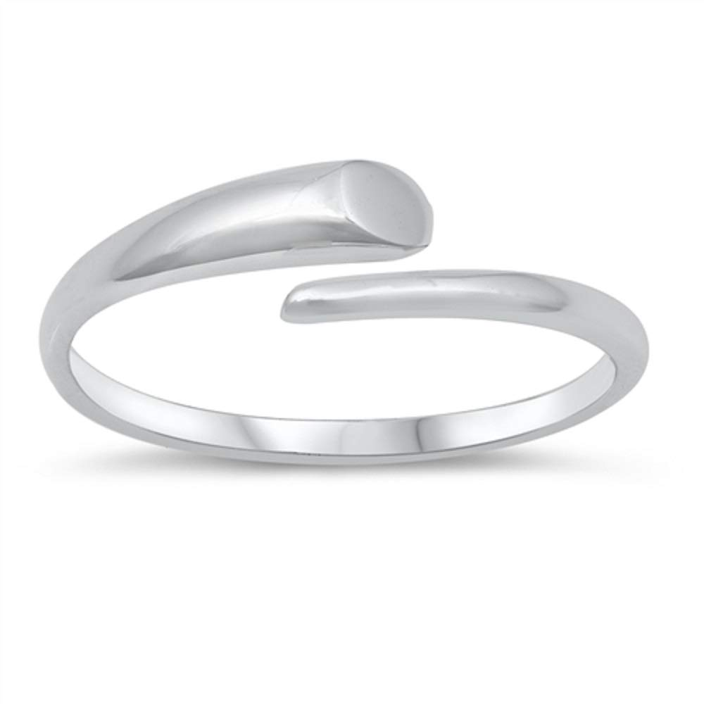 Princess Kylie Rhodium Plated Sterling Silver Plain Open Ring