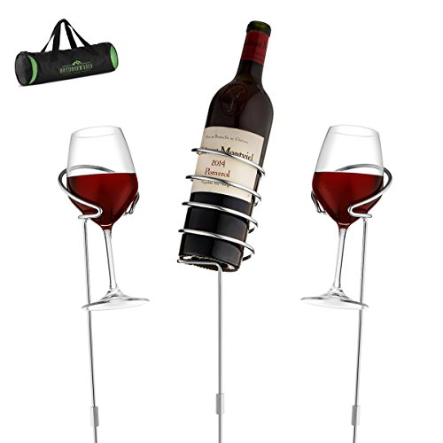 Wine Bottle & Cup Standing Holder Rack | Adjustable Height, Durable Metallic Frame, Sturdy Base & Secure Grip | Holds Bottles Of Wine, Beer,Champagne,Beverages,Glasses& More (5 Pieces ()