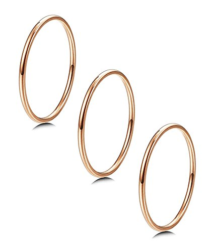 LOYALLOOK 3pcs 1mm Stainless Steel Women's Plain Band Knuckle Stacking Midi Rings Comfort Fit Rose Gold Tone -