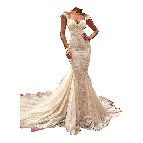 Uryouthstyle Lace Bridal Gowns Mermaid Chapel Train Wedding Dresses US12 Ivory Chapel Train Wedding Dress