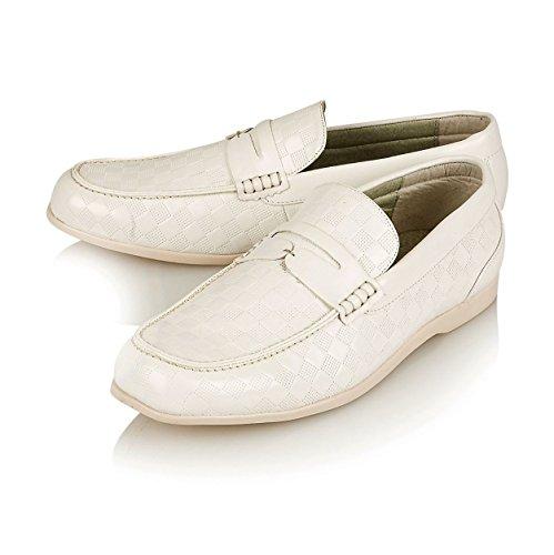 Nahka 43 Loafers 9 Uk Pu Innoittamana Mokkasiinien Rento valkoinen Eu Slip Suunnittelija Mens on Kengät UIZ4B
