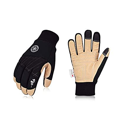 Vgo 3Pairs 32? or above 3M Thinsulate C40 Lined Winter Premium Pigskin Leather Waterproof Work Gloves (Black,PA1015FW)