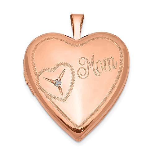 925 Sterling Silver Rose Gold Plated 20mm Mom Diamond Heart Photo Pendant Charm Locket Chain Necklace That Holds Pictures Fine Jewelry Gifts For Women For Her