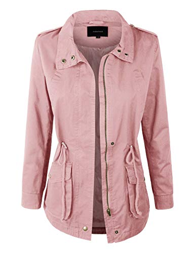 makeitmint Women's Zip Up High Neck Roll Up Sleeve Utility Anorak Fall Jacket YJZ0005-71MAUVE-LRG