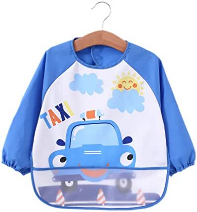 Momloves Cute Baby Toddler Waterproof Sleeved Bib,Water Resistant,Funny Personalized for Boys & Girls