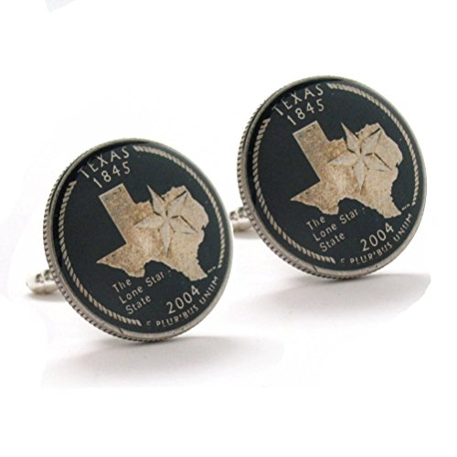 The Traveling Penny Texas Cufflinks Suit Flag State Coin Jewelry USA Lone Star Cowboy Houston San Antonio Dallas Austin