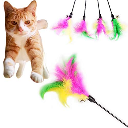 Agordo Pet Cat Teaser Fancy Multicolor Feather Toys Cat Wand Cat Catcher Teaser Sticks