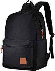 OMORC School Bag, Lightweight 15.6 Inch Water-Repellent Teenagers School Laptop Backpack Laptop Bag Nylon Casual Daypack with Headphone Port for Travel/Business/College/Boys/Girls - Black