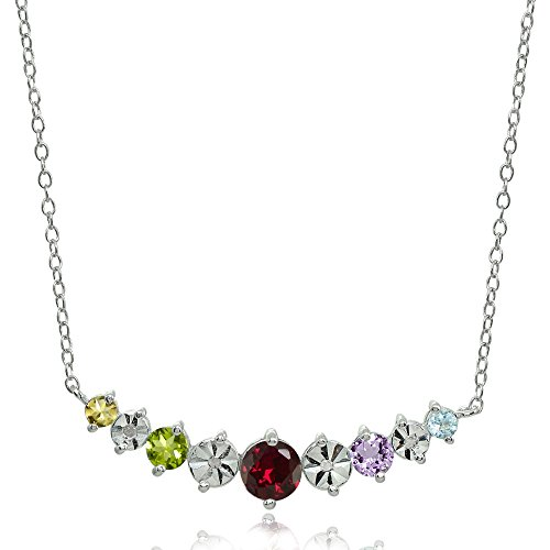 Sterling Silver Multi-Color Gemstone Round Graduated Journey Necklace -