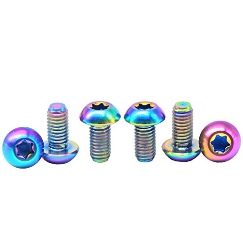 Lightweight Brake Rotors (M5X10 Ti Titanium Bolt Torx Mountain Mtb Bike Bicycle Disc Brake Rotor Screws 6 Packed Colorful)