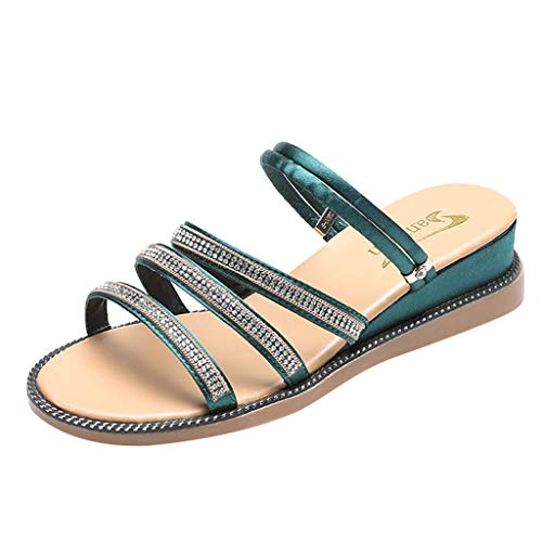 Kauneus Women Summer Sandals Beach Platform Crystal Flip Flops Flat Shoes Ladies Fashion Slipper Shoes Sandals Green