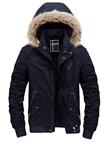 Fur Collar Bomber - Lavnis Men's Cotton Bomber Jacket Casual Lightweight Hooded Faux Fur Windbreaker Caot Trucker Jacket Style 2 Black XL