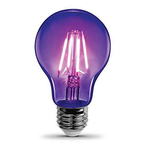 "Feit Electric A19/BLB/LED, 7W, Filament Black Light, LED, Non-Dimmable Bulb, 4"" H x 2.3"" D"