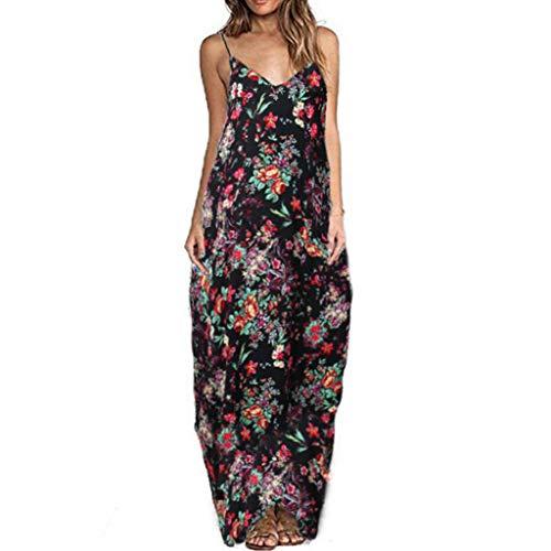 Sleek Tea Dress - Respctful Women Summer Beach Boho Adjustable Spaghetti Straps Long Tank Dress Floral Maxi Party Sundress Black