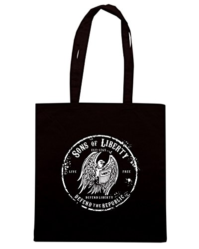 T-Shirtshock - Bolsa para la compra TM0627 sons of liberty defend liberty defend the republic Negro