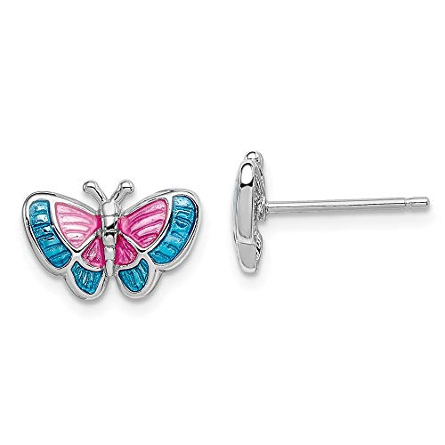 Pink and Blue Enameled Butterfly Post Earrings in Sterling Silver