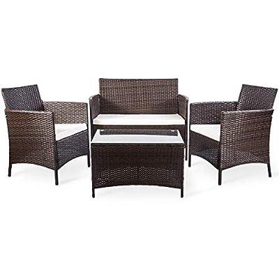 Leisure Zone 4 PCS Patio Furniture Set Outdoor Garden Conversation Wicker Sofa Set (Blue Cushion)