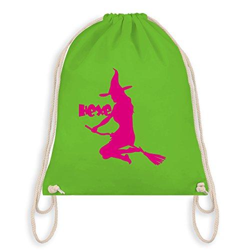 Shirtracer Halloween - Hexe auf dem Besen - Turnbeutel I Gym Bag Hellgrün v8ozT