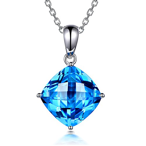 Fashion Cushion 9X9mm Solid 14Kt Solid White Gold Diamond Topaz Gemstone Wedding Promise Engagement Pendant Sets by Kardy