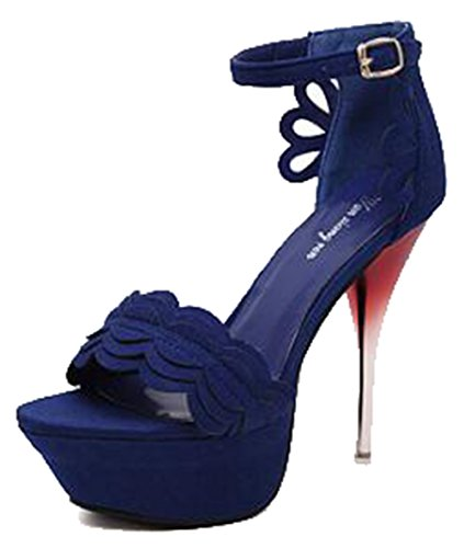 Toe Stiletto Sandals Peep Strap Heel Stitching Buckle High Sexy Easemax Cut Womens Blue Ankle Platform Out wSn7Fzq