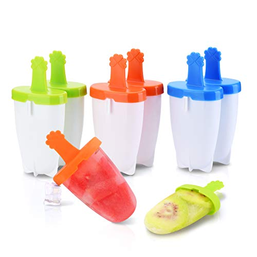 Ice Pop Molds with Interlocking, UNIQUE 6 IKICH Ice Popsicle Molds BPA Free FDA Certified, Easy Release Reusable Ice Pop Maker DIY Cream Molds With Sticks Drip Guard Handle for Toddler Kids Adult