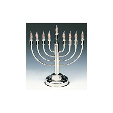 Highly Polished Electric menorah with flickering bulbs