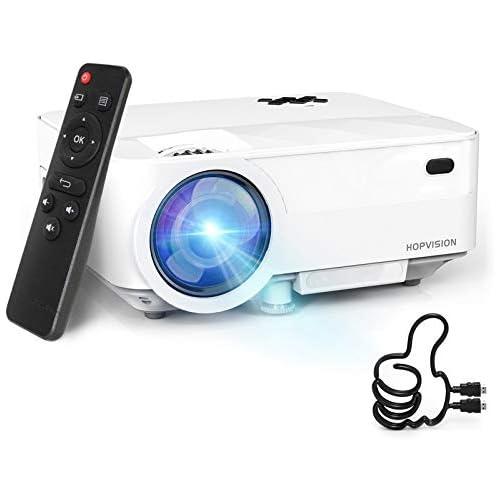 chollos oferta descuentos barato HOPVISION Mini Proyector 1080P Full HD Proyector Portátil de 5000 Lúmenes con Pantalla Máx de 180 Proyector LED de 60000 Horas Proyector Cine en Casa Compatible con HDMI AV USB SD VGA