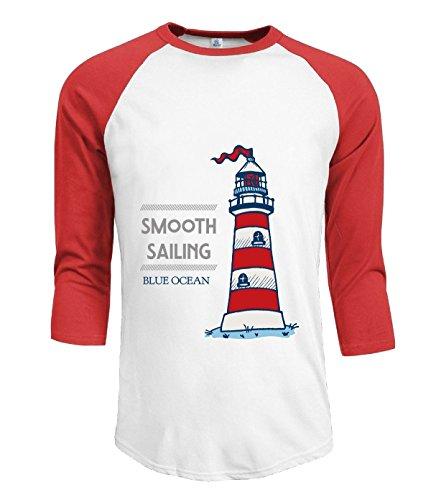 Crossing Mens Smooth Sailing Blue Ocean Desire 3/4 Raglan Long Sleeves Tee Shirts L red