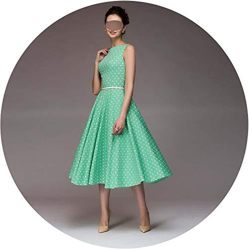 2019 Summer New Sleeveless O-Neck Vestidos Women Elegant Thin dot Printing Mid-Calf Casual Dress, L -